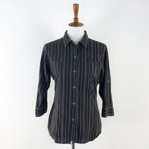 The North Face Black 3/4 Sleeve Button Down Shirt